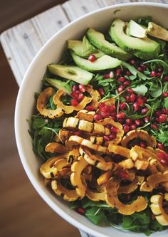 Vegan Thanksgiving: Arugula Salad With Roasted Delicata Squash, Avocado, and Pomegranate Ginger Dressing