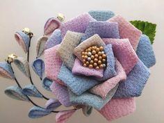 ペールブルーグラデーション バラの2wayクリップピン髪飾り*3本下がり #つまみ細工