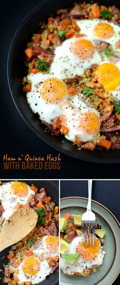 Ham and Quinoa Hash with Baked Eggs #glutenfree #breakfast   FitFoodieFinds.com