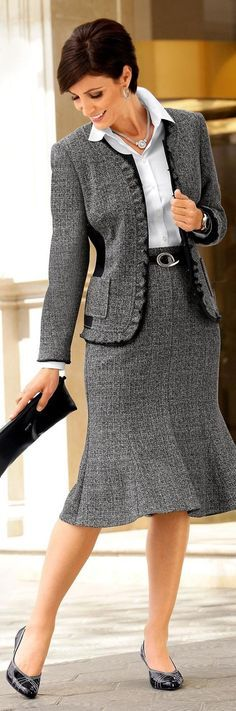 Gray Tweed Skirt Suit With Flared Hem White Blouse and Black High Heels