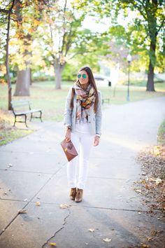 Light gray blazer w white jeans, plaid oversized scarf