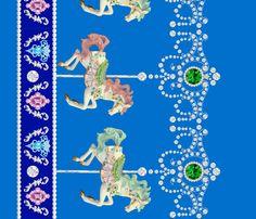 darker blue egl gothic lolita carousel pony horse carnival border baroque Un Manege Robe jewels gems fabric by raveneve on Spoonflower - custom fabric