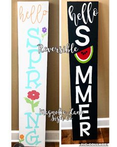 Spring porch sign, reversible spring porch sign, reversible porch sign, hello summer porch sign, hello spring porch sign – My CMS Pallet Crafts, Wood Crafts, Diy Crafts, Front Porch Signs, Front Porches, Summer Signs, Spring Sign, Craft Night, Diy Signs