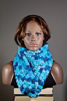 Blue Scarf warm scarf winter scarf scarf Soft Yarn by CozybyLana, $20.00