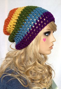 Crochet Slouch Beanie - Fall Mix- Slouchy Beanie Hat on Etsy, $24.99 CAD