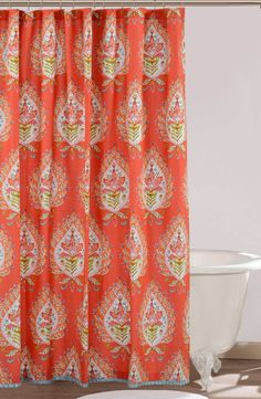 Navy And Red Shower Curtain