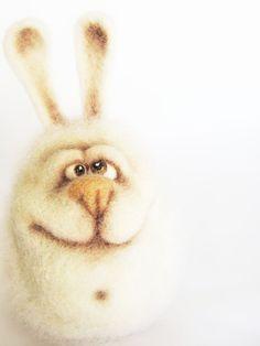 Needle Felted Toy  Funny Bunny Felt Toys by VladaHom on Etsy,