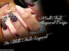 20 Matte Hand Painted Full Cover False Nails Stiletto Nude Brown Leopard+Glue