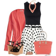"""""""Black, White & Coral"""" by jafashions on Polyvore"""