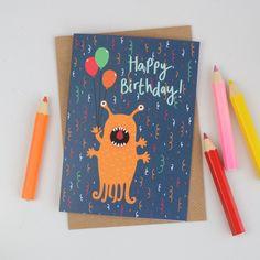 New to HannahStevensShop on Etsy: Alien Birthday Card Childrens Alien Birthday Card Kids Birthday Card Illustrated Greetings Card Cards for Children (2.50 GBP)