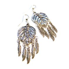 Unique Handmade Leaf Feather Charm Silver Tone Drop Earrings