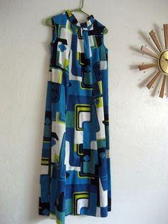 Mid Century Kai Nani Hawaii Bold Mod Print Maxi Dress TIKI PARTY Marimekko Style