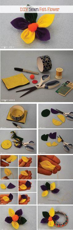 Sewn Felt Flower- Sophie's World  Full DIY: http://sophie-world.com/crafts/felt-flower  #flower #craft #sewing #sew #sewn #diy #diyproject #handmade #kids #easy #sophiesworld