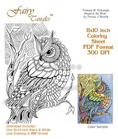 moon owl fairy tangles adult coloring book printalbe coloring sheet owls digi coloring pages zentangle owls norma burnell coloring pages