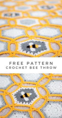 Crochet Square Patterns, Crochet Squares, Crochet Blanket Patterns, Crochet Designs, Crochet Hexagon Blanket, Crochet Quilt Pattern, Crochet Afghans, Crochet Blankets, Granny Squares