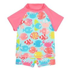 bluezoo Girls' multi-coloured fish print swim top and shorts set | Debenhams