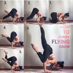 YOGA (@yogalooksgood) в Instagram: «funky flying crow. . 1. Starts in cow pose. Lay on your forearms shoulders wide apart. Put your…»