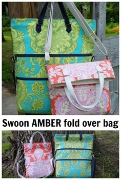 Here's the Swoon pattern to make the Amber fold over bag. This bag combines fashion and functionality to create a bag with a place for everything.