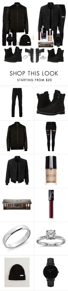 """Clyde and Bonnie"" by kevans-iv ❤ liked on Polyvore featuring Versace, Timberland, River Island, LE3NO, Giorgio Armani, Urban Decay, NARS Cosmetics, Blue Nile, Neff and CLUSE"