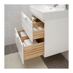 slimline water trap design - GODMORGON / BRÅVIKEN Wash-stand with 2 drawers - Resjön white - IKEA slimline water