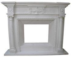 klasyczny kominek angielski z białego marmuru