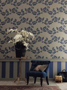 Casamance Hampton Garden Foliage Wallpaper from Interiors Hampton Garden, Shabby Chic Wallpaper, Casamance, Blue Wallpapers, Geometric Designs, Designer Wallpaper, E Design, The Hamptons, Garland