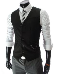 a9dbd359b7ab75 Amazon.com  TheLees Mens slim fit chain point 3 button vest  Clothing Suit