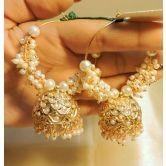 Elegant Kundan And Pearl Gold Plated Danglers