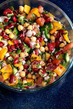 Middle Eastern Bean Salad- Balela is a delicious protein rich vegan salad recipe. This healthy vegan bean salad - Balela, inspired by Middle East is made with different beans, greens, fresh veggies, olive oil and Arabic spices. Salad Recipes For Parties, Salad Recipes For Dinner, Appetizer Recipes, Snack Recipes, Healthy Recipes, Vegan Bean Recipes, Protein Rich Recipes, Mixed Bean Salad Recipes, Fresh Salad Recipes