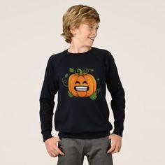 Pumpkin Big Smile Emoji Thanksgiving Halloween Sweatshirt - thanksgiving day family holiday decor design idea