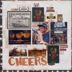 Scrapbooking   Scrapbook Page   12X12 Layout   Featuring Bo Bunny and Stabilo   Designed by Kim Gowdy   Creative Scrapbooker Magazine   Beer Layouts #scrapbooking #beer #12X12layouts