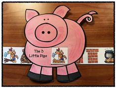 """Reading: Sequence & retell the story """"The 3 Little Pigs"""" with this cute fairy tale """"slider"""" craft. comes with color + black & white patterns."""
