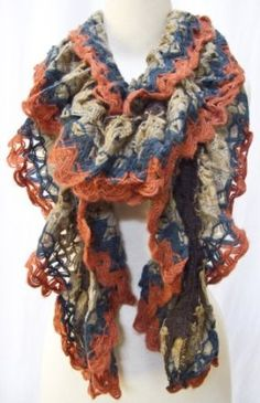 """Anna"" Soft Ruffled Knit Scarf Shawl Stole Wrap Beige Sand Coral Orange Blue Steel Paisley. $28.00"