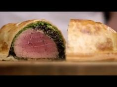 Beef tenderloin fillet, coated with mustard, mushroom duxelles, ham, wrapped in puff pastry and baked. Based on Gordon Ramsey Beef Wellington recipe. meat-just-beef food Gordon Ramsey Beef Wellington, Savoury Pastry Recipe, Savoury Recipes, Good Food Channel, Beef Fillet, Beef Wellington Recipe, Gordon Ramsay, Food Inspiration, Beef Recipes