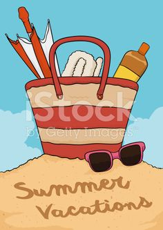 Summer view of Beach Free Vector Art, Image Now, Vacation, Beach, Illustration, Summer, Vacations, Summer Time, The Beach