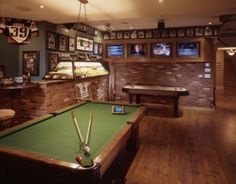 mini bar/game room with a billiards table, air hockey game, dartboard, fully stocked bar and a jukebox Man Cave Diy, Man Cave Home Bar, Man Cave Basement, Man Cave Garage, Basement Sports Bar, Basement Band, Dark Basement, Billard Bar, Man Cave Essentials