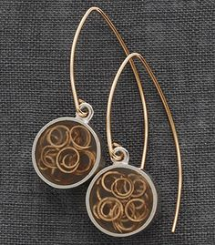 """Carla Pennie McBride: , Earrings in sterling silver, resin and goldfill wire. Goldfill ear wires. Approx 1.5"""" long."""