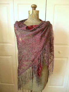 Vintage loose weave dark burgandy and silver metallic Shawl wrap