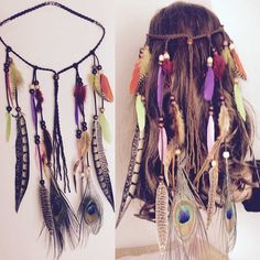 Jewelry Findings & Components Flight Tracker Western Bohemia Peacock Feather Hair Band Hippie Folk Style Indian Hair Fringed Hair Headdress