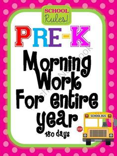 Pre kindergarthen Morning Work for Entire Year 180 days product from Mrs-TL-Garcia on TeachersNotebook.com