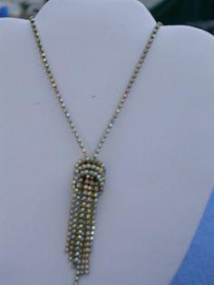 Vintage Iridescent Rhinestone Necklace w/ Earrings