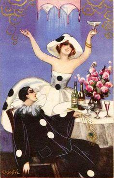 Sofia Chiostri (Italian 1898-1945) - Vintage Art Deco Harlequin card