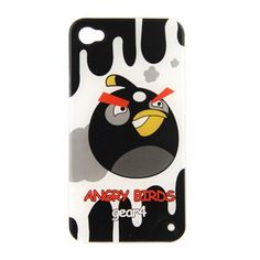 Angry Birds Style IMD Hard Plastic Case (Black + White) voor iPhone 4 en 4S #covermaniabe #iphone4hoesje #iphonecover www.cover-mania.be