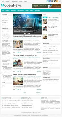 OpenNews Blogger Template:  OpenNews is a 3 Columns, Mobile Friendly (Responsive) Blogger Template for News Blogs. OpenNews Blogger Template has a Featured Post Slider, 2 Navigation Menus, Header Ad Banner Area, Related Posts, Breadcrumb, Social and Share Buttons, Left and Right Sidebars, 3 Columns Footer Widgets Area, Web Fonts, Tabbed Widget and More Features.  http://www.premiumbloggertemplates.com/opennews-blogger-template/