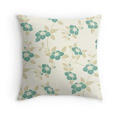 'Teal Floral Pattern' Throw Pillow by Teal Throw Pillows, Decorative Throw Pillows, Floor Pillows, Framed Prints, Canvas Prints, Art Prints, Art Boards, Duvet Covers, Finding Yourself