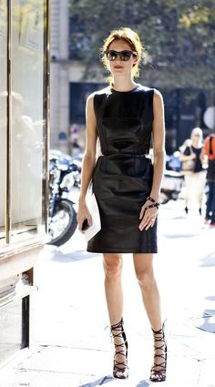 Taylor Tomasi Hill donned a leather dress and lace-up heels at Paris Fashion Week Spring 2012 Taylor Tomasi, Fashion Mode, Look Fashion, Girl Fashion, Womens Fashion, Milan Fashion, Street Fashion, Runway Fashion, Fashion Trends