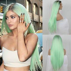 패션 선염 민트 녹색 긴 직선 합성 레이스 프런트 가발 글루리스 twotone 다크 브라운/녹색 내열 머리 여성 가발
