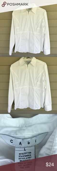 Cabi Style# 367 Long Sleeve White Zipper Front Top CAbi top is in really good condition.  95% Cotton, 5% spandex.  Size: large.  Approximate measurements: armpit to armpit 19.5 inches, length 23 inches.  So cute! CAbi Tops Blouses