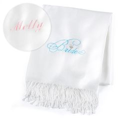 """Bride - Pashmina - Personalized - White This white scarf made of fine-quality material comes personalized and features a """"Bride"""" design embroidered in aqua and silver."""