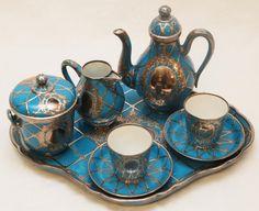 8 Pc SEVRES PORCELAIN & SILVER OVERLAY TEA SET